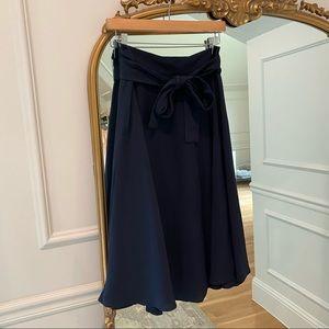 Ann Taylor Navy Tie Waist Midi Skirt
